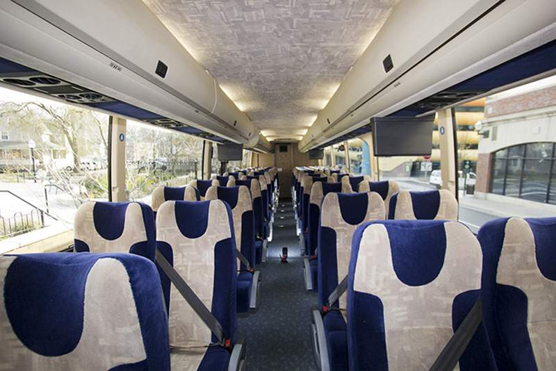 Inside a Michigan Flyer bus, which will be operating the bus service with the Regional Transit Authority of Southeast Michigan.