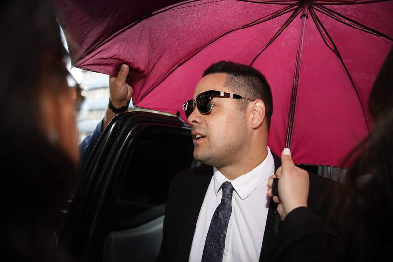 Former football player Jarryd Hayne arrives at court in Newcastle, Australia, Thursday, May 6, 2021. Hayne, a rugby league star who also played in the NFL for the San Francisco 49ers, has been sentenced to at least three years and eight months in jail for the sexual assault of a woman in 2018. (Darren Pateman/AAP Image via AP)
