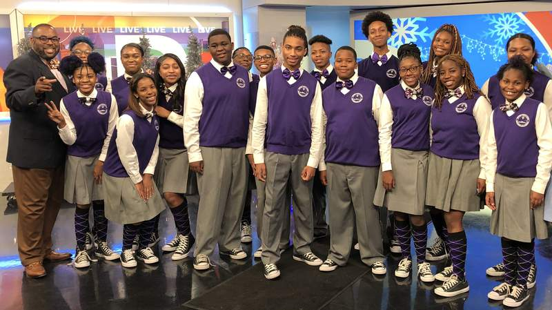 The Detroit Youth Choir at Local 4's studio.