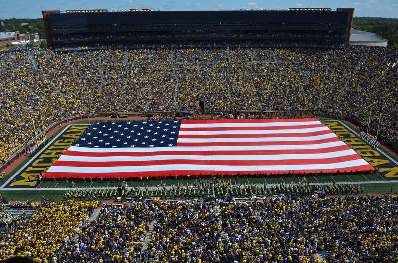 One of many patriotic tributes the Michigan Marching Band has performed over the years, their halftime show on Sept. 7, 2019 during the game against Army Black Knights unveiled a massive American Flag and a full lineup of patriotic music.