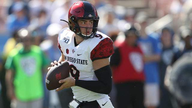 Ryan Agnew #9 of the San Diego State Aztecs drops back in the pocket during the second half of a game against the UCLA Bruins on September 07, 2019 in Los Angeles, California. (Photo by Sean M. Haffey/Getty Images)