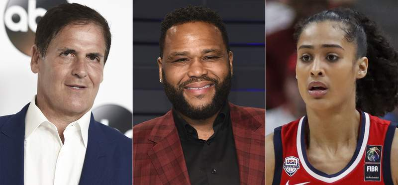 This combination photo shows Mark Cuban, Anthony Anderson and Skylar Diggins-Smith who will take part in a series of panel discussions on YouTube that are focused on racial justice. The video-sharing platform announced the lineup on Thursday for Bear Witness, Take Action 2. (AP Photo)