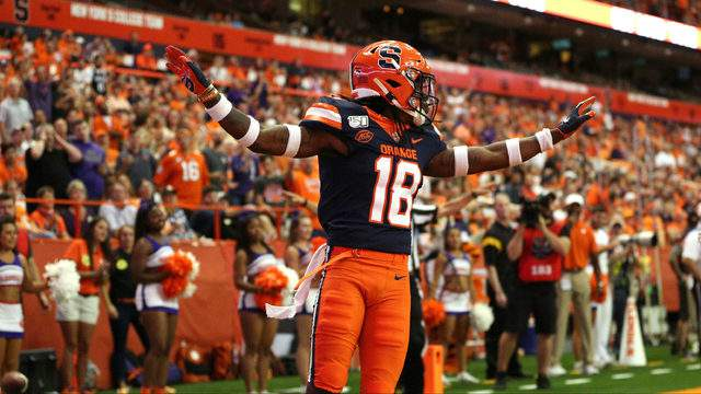 Scoop Bradshaw #18 of the Syracuse Orange reacts after breaking up a pass during a game against the Clemson Tigers at the Carrier Dome on September 14, 2019 in Syracuse, New York. (Photo by Bryan M. Bennett/Getty Images)