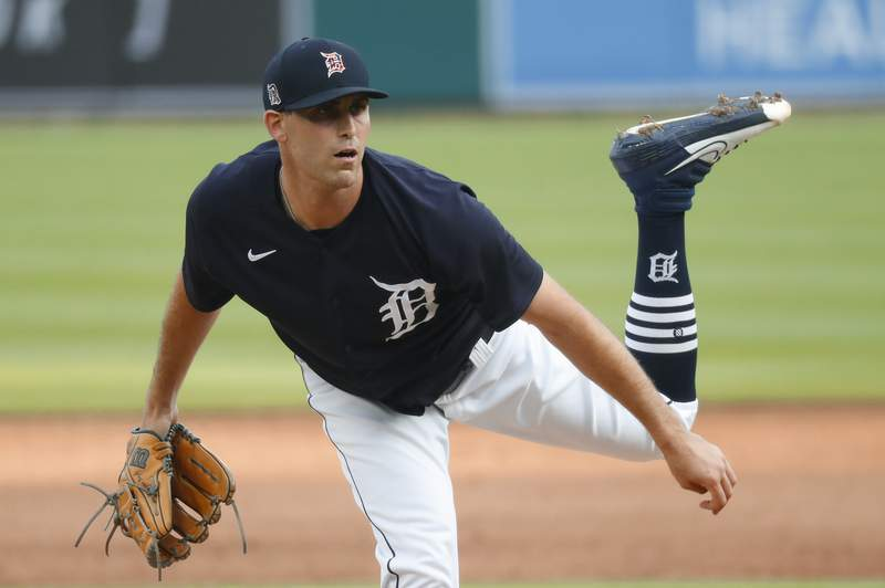 Detroit Tigers pitcher Matthew Boyd watches a throw during an intrasquad baseball game in Detroit, Wednesday, July 15, 2020. (AP Photo/Paul Sancya)