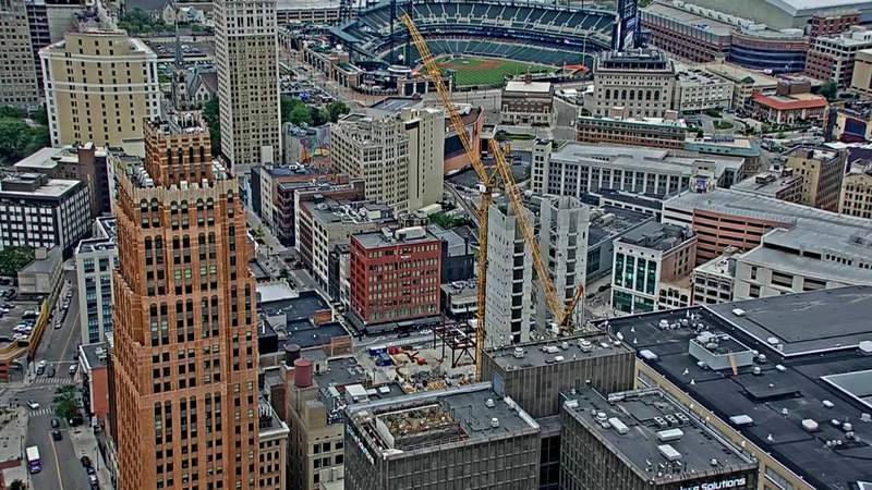 View of the Hudson's site skyscraper construction on June 24, 2021.