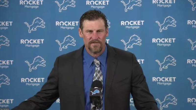 Detroit Lions head coach Dan Campbell at his introductory press conference on Jan. 21, 2021.