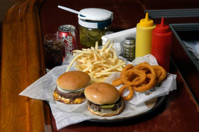 Miller's Bar burgers, fries and onion rings