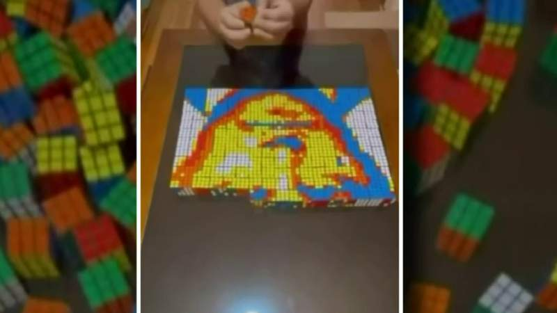 12-year-old Dearborn boy goes viral with Rubik's Cube art