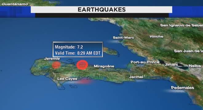 A 7.2 magnitude earthquake has struck off the coast of Haiti.