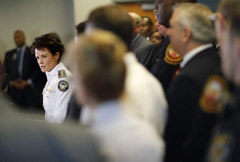 FILE - In this Jan. 4, 2018, file photo, Atlanta Police Chief Erika Shields speaks at a press conference in Atlanta. Louisville city leaders praised Shields, who has been hired to oversee their struggling department in the wake of Breonna Taylor's death, but some critics questioned if she was the right choice after a rocky departure from her previous job. (AP Photo/David Goldman, File)