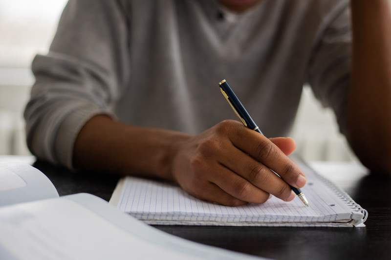 Student working in class.