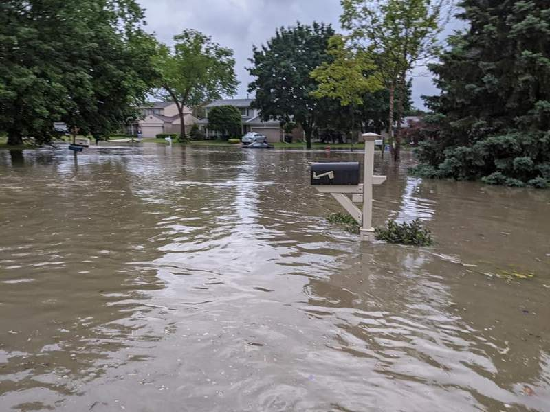 A flooded neighborhood in Rochester Hills