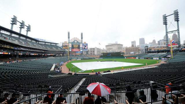 A tarp on the field before a Detroit Tigers game at Comerica Park.