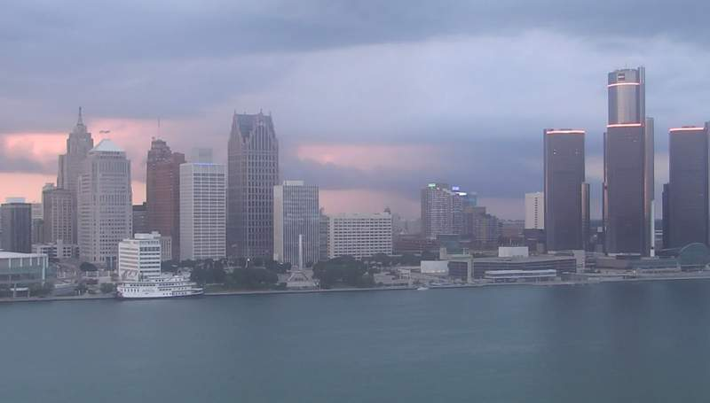 View of Detroit from the Windsor sky camera on Aug. 3, 2020 at 8:35 p.m.