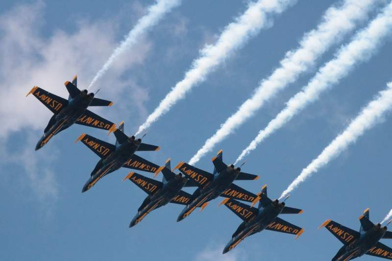 The Blue Angels flying over Metro Detroit on May 12, 2020.