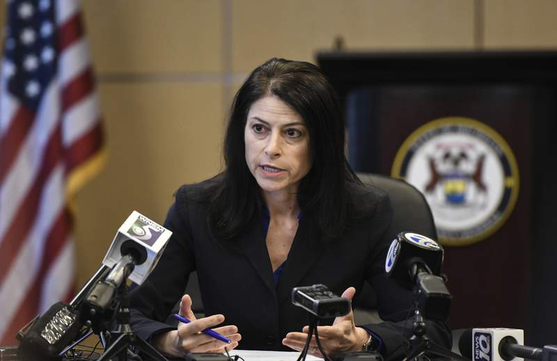 Michigan Attorney General Dana Nessel addresses the media during a news conference, Thursday, March 5, 2020, in Lansing, Mich. (Matthew Dae Smith/Lansing State Journal via AP)