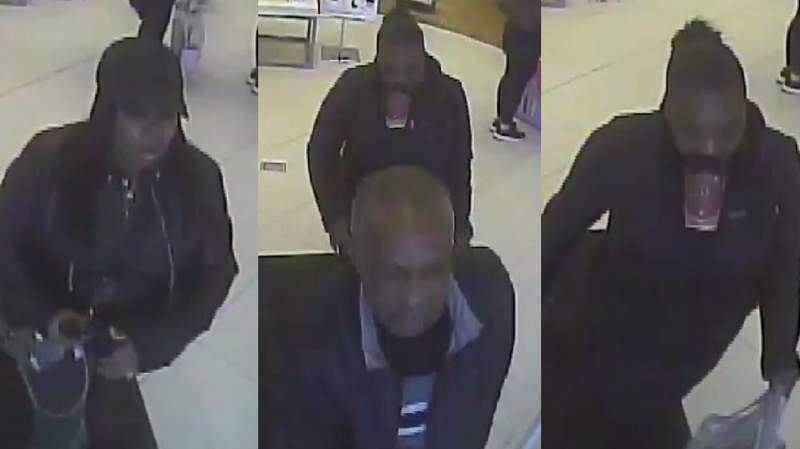 Officials look for information on people wanted for theft from business.