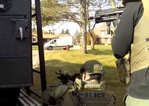 An image from the scene of the standoff between police and the barricaded gunman Tuesday in Livonia.