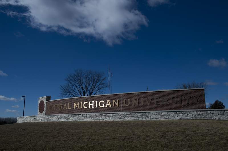 MOUNT PLEASANT, MI - MARCH 02: The Central Michigan University sign, seen on March 2, 2018 in Mount Pleasant, Michigan. (Photo by Rachel Woolf/Getty Images)