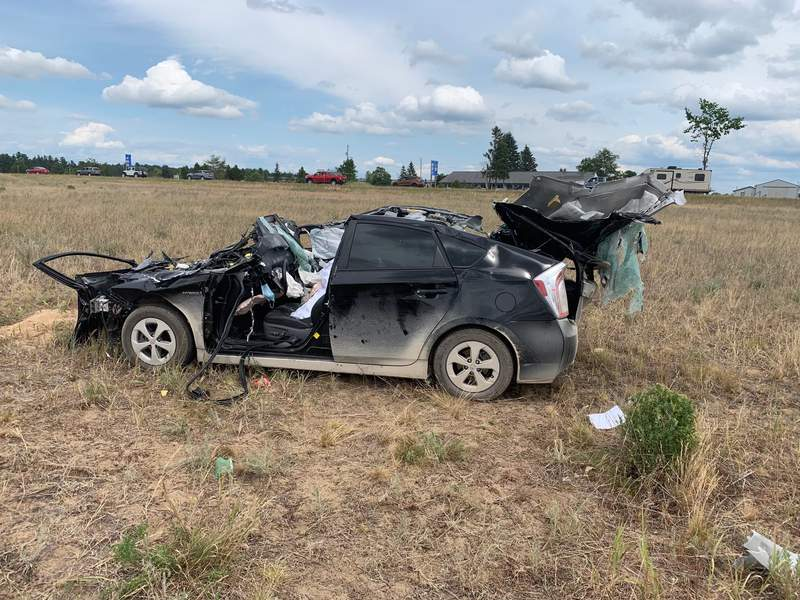 A vehicle involved in a June 20, 2021, head-on crash on I-75 in Bagley Township.