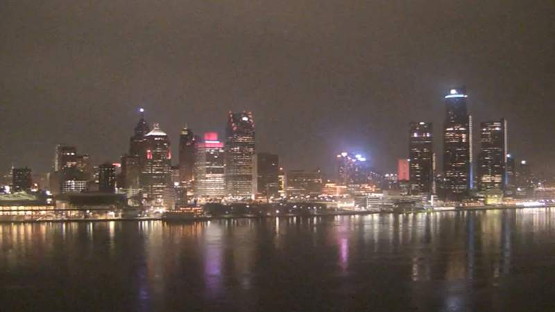 View of Detroit from the Windsor sky camera on Feb. 24, 2020 at 8:25 p.m.