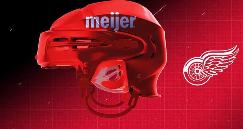 Meijer sponsors Detroit Red Wings helmets for the 2021-22 season