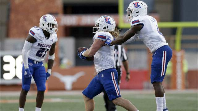 Connor Taylor #2 of the Louisiana Tech Bulldogs celebrates after recovering a fumble in the first quarter against the Texas Longhorns at Darrell K Royal-Texas Memorial Stadium on August 31, 2019 in Austin, Texas. (Photo by Tim Warner/Getty Images)