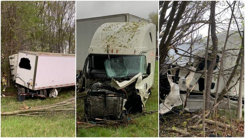 Pictures of an April 30, 2021, semi truck crash along I-96 at M-100.