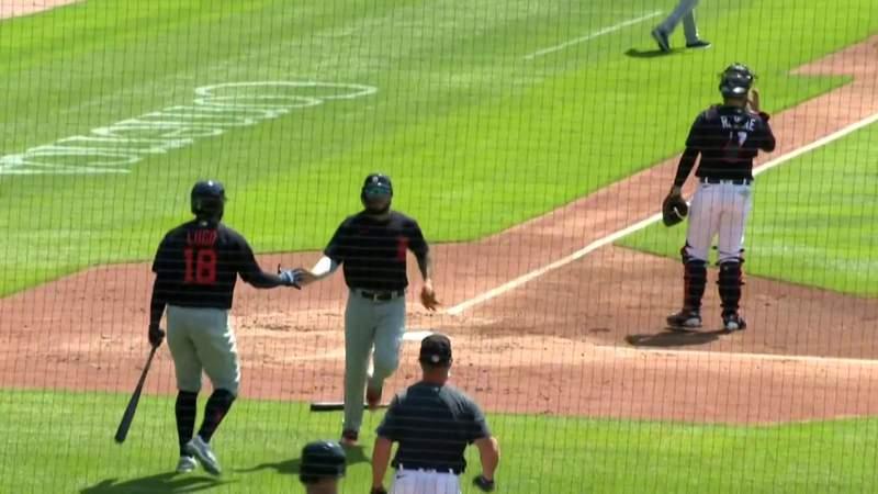 Harold Castro scores on Christin Stewart's RBI single off of Matt Boyd in Detroit Tigers intrasquad game