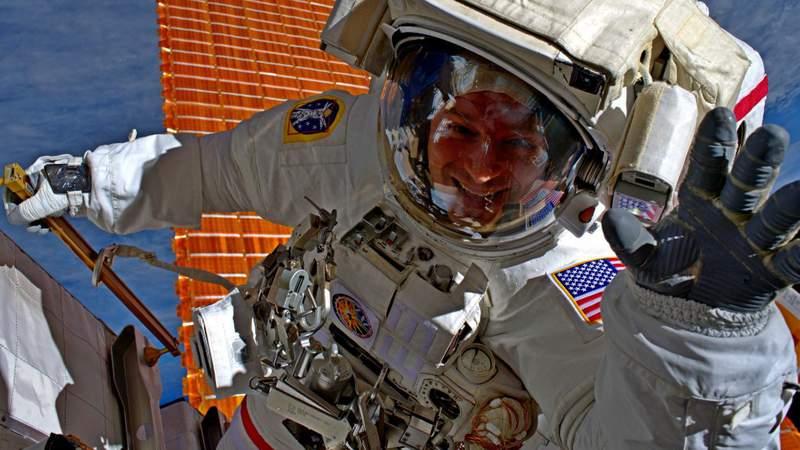 NASA astronaut U.S. Army Col. Andrew Morgan participates in extravehicular activity (EVA) #57 with NASA Astronaut Christina Koch, Oct. 11, 2019, to upgrade the International Space Station's solar array batteries.