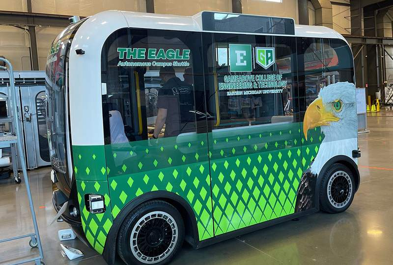 First look at one of two autonomous shuttles coming to EMU's campus this year.