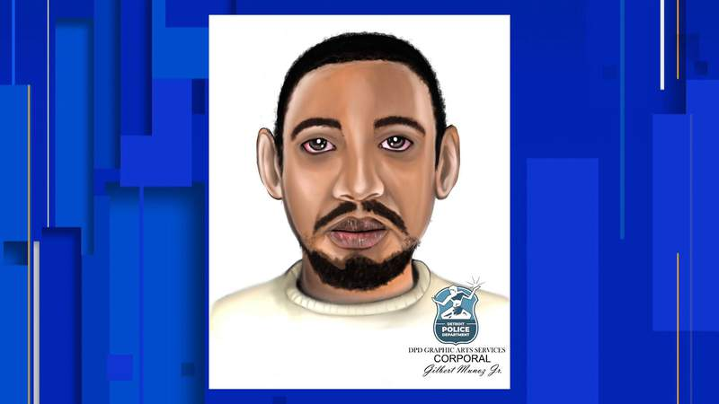 A sketch of a man wanted in connection with a Sept. 21, 2021, abduction attempt in Detroit.