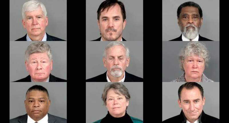 Nine charged in Flint water crisis probe: (First row, From top left to right). Rick Snyder; Nick Lyon; Darnell Earley; (Second row): Richard Baird; Gerald Ambrose; Nancy Ann Peeler; (Third row): Howard Croft; Eden Wells; Jarrod Agen.