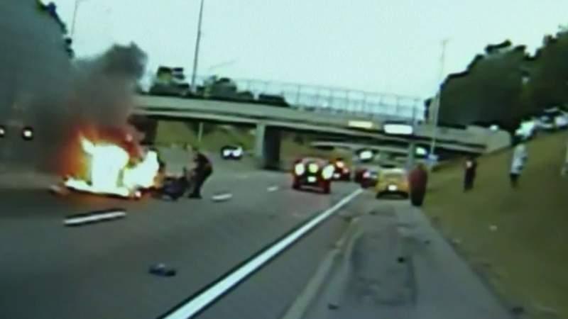 Harper Woods Public Safety officer pulls man from burning car on I-94