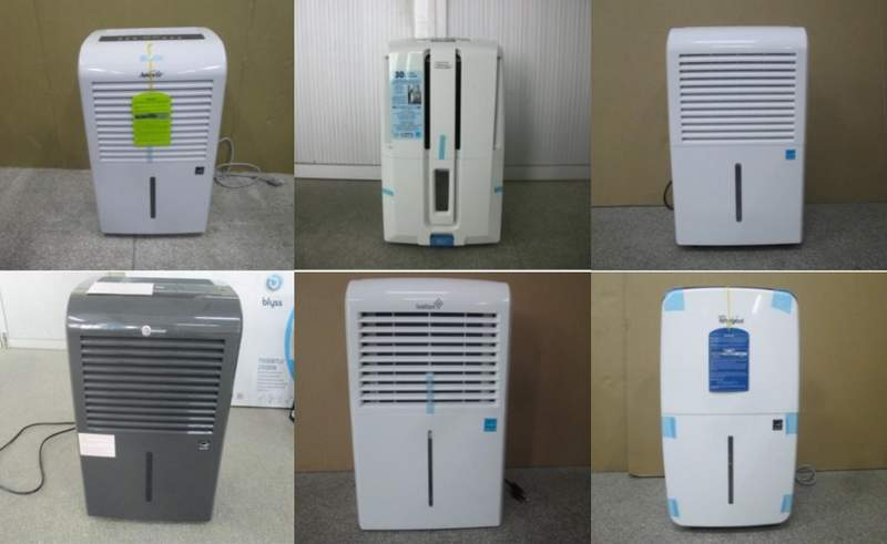 Six of the recalled dehumidifier models.