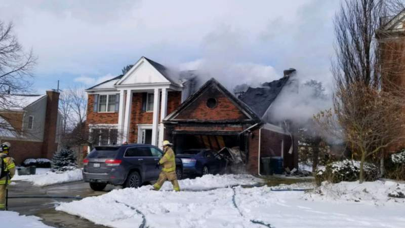 A garage connected to a Rochester Hills home on Saxon Court caught fire on Feb. 6. Photo provided by the Rochester Hills Fire Department.