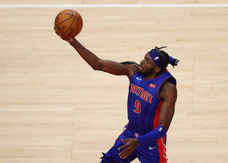 ATLANTA, GEORGIA - DECEMBER 28:  Jerami Grant #9 of the Detroit Pistons drives against the Atlanta Hawks during the first half at State Farm Arena on December 28, 2020 in Atlanta, Georgia.  NOTE TO USER: User expressly acknowledges and agrees that, by downloading and or using this photograph, User is consenting to the terms and conditions of the Getty Images License Agreement. (Photo by Kevin C. Cox/Getty Images)