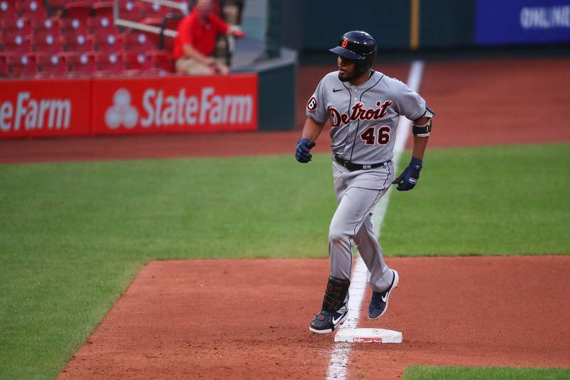 Jeimer Candelario #46 of the Detroit Tigers rounds third base after hitting a home run against the St. Louis Cardinals in the sixth inning during game two of a doubleheader at Busch Stadium on September 10, 2020 in St Louis, Missouri.