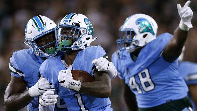 Donnie Lewis Jr. #1 of the Tulane Green Wave celebrates an interception during the first half of a game against the Wake Forest Demon Deacons on August 30, 2018 in New Orleans, Louisiana. (Photo by Jonathan Bachman/Getty Images)
