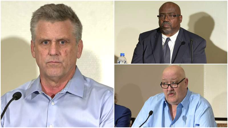 Matt Schembechler (left), Gilvanni Johnson (top right) and Daniel Kwiatkowski (bottom right) speak at a June 10, 2021, press conference about the abuse of former U of M Dr. Robert Anderson and Bo Schembechler's handling of the situation.