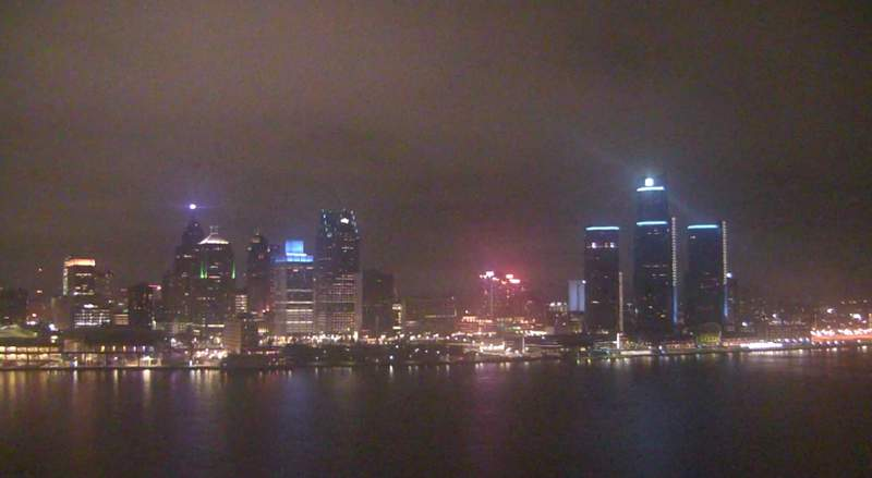 View of Detroit from the Windsor sky camera on Jan. 8, 2021 at 9:18 p.m.