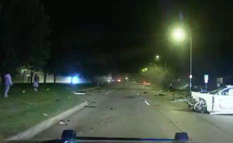 The aftermath of a deadly three-car crash on Sept. 21, 2021, in Harper Woods.
