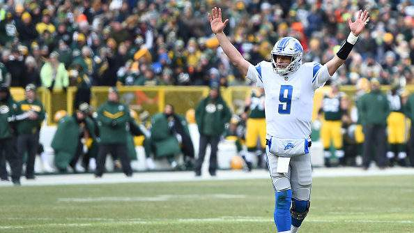 GREEN BAY, WISCONSIN - DECEMBER 30: Matthew Stafford #9 of the Detroit Lions reacts during the first half of a game against the Green Bay Packers at Lambeau Field on December 30, 2018 in Green Bay, Wisconsin. (Photo by Stacy Revere/Getty Images)