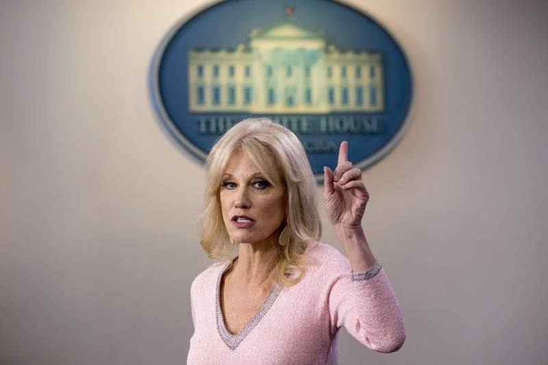 FILE - In this Dec. 5, 2019, file photo, Kellyanne Conway speaks in the Briefing Room at the White House in Washington. Conway, one of President Donald Trumps most influential and longest serving advisers, announced Sunday, Aug. 23, 2020, that she would be leaving the White House at the end of the month.  Conway, who was Trumps campaign manager during the stretch run of the 2016 race, was the first woman to successfully steer a White House bid before becoming a senior counselor to the president. She informed Trump of her decision in the Oval Office. (AP Photo/Andrew Harnik, File)