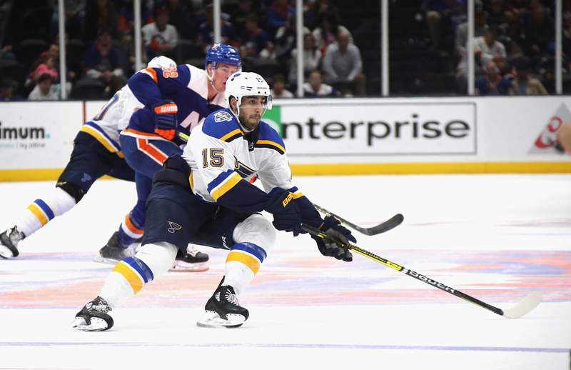 UNIONDALE, NEW YORK - OCTOBER 14: Robby Fabbri #15 of the St. Louis Blues skates against the New York Islanders at NYCB Live's Nassau Coliseum on October 14, 2019 in Uniondale, New York. The Islanders defeated the Blues 3-2 in overtime. (Photo by Bruce Bennett/Getty Images)
