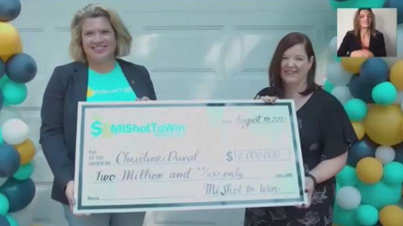 Christine Duval, the winner of the $2 million grand prize from the MI Shot To Win Sweepstakes.