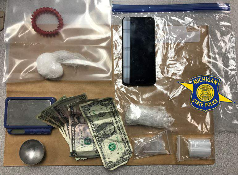 Items found during a March 26, 2021, arrest in Michigan, state police said.