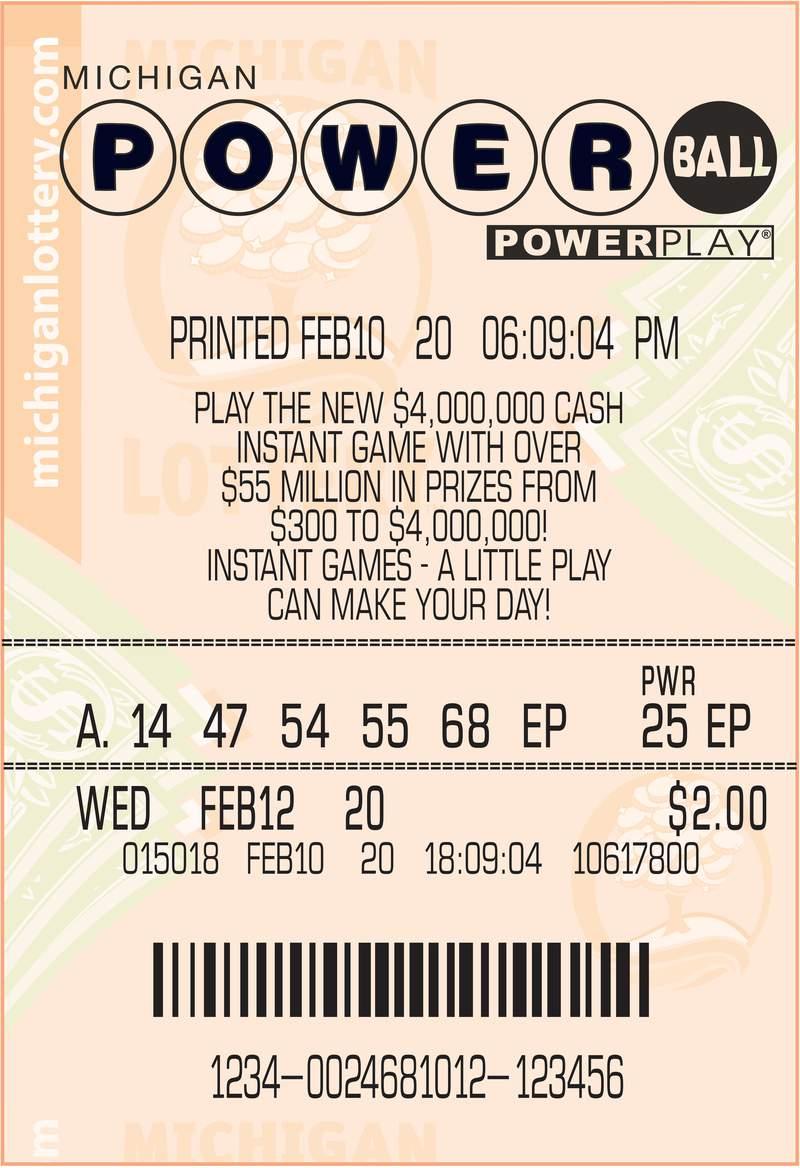 Winning Powerball ticket.