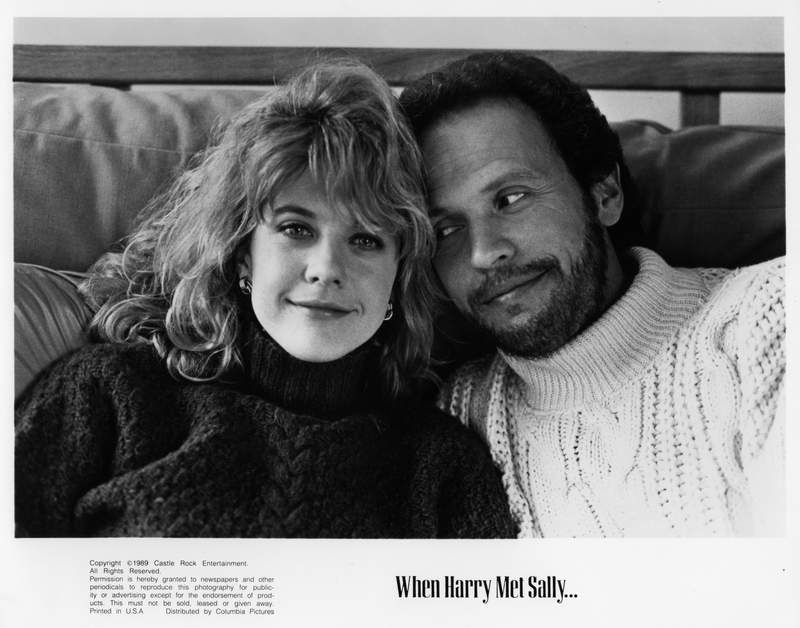 """CIRCA 1989:  Meg Ryan and Billy Crystal pose for the movie """"When Harry Met Sally"""" circa 1989. (Photo by Hulton Archive/Getty Images)"""