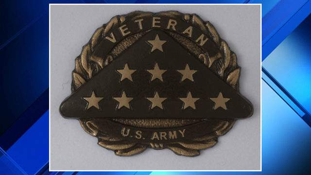 An example of the emblem stolen from a headstone at a Royal Oak cemetery. (WDIV)
